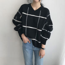 NANING9 Other Check Patterns Casual Style Wool V-Neck Long Sleeves