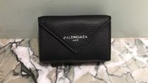 BALENCIAGA PAPIER A4 Street Style Plain Leather Folding Wallets
