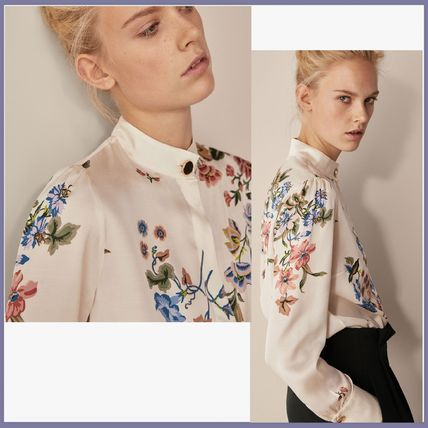 Flower Patterns Long Sleeves Elegant Style Shirts & Blouses