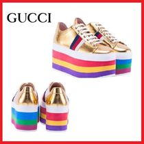 GUCCI Platform Round Toe Casual Style Street Style Leather