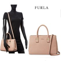 FURLA 2WAY Plain Leather Office Style Totes