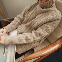 Cable Knit Long Sleeves Medium High-Neck Office Style