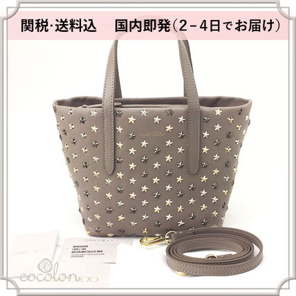 Star Calfskin Studded 3WAY Plain Elegant Style Totes