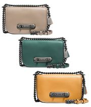 Coach SWAGGER Chain Plain Leather Elegant Style Shoulder Bags