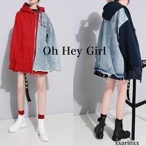 Oh Hey Girl Casual Style Denim Blended Fabrics Street Style Bi-color