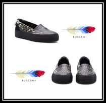 BUSCEMI Plain Toe Rubber Sole Casual Style Leather Slip-On Shoes