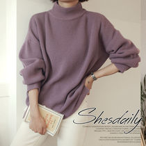 Casual Style Rib Long Sleeves Plain Medium High-Neck