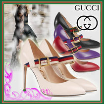 GUCCI Casual Style Plain Leather Pin Heels
