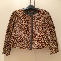 PRADA Short Leopard Patterns Leather Elegant Style Jackets