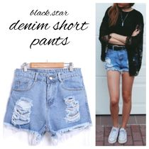 Short Casual Style Denim Street Style Fringes