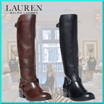 Ralph Lauren Round Toe Plain Leather Office Style Flat Boots