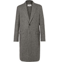 Maison Martin Margiela Zigzag Wool Blended Fabrics Long Chester Coats