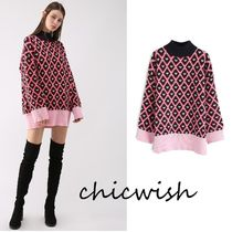 Chicwish Heart Casual Style Long Sleeves Long High-Neck Sweaters