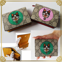 GUCCI GG Marmont Other Animal Patterns Leather Folding Wallets