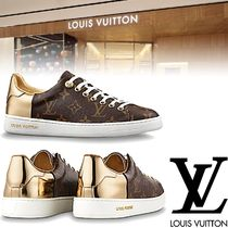 Louis Vuitton Monoglam Round Toe Rubber Sole Casual Style Leather