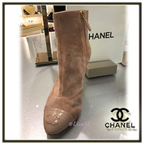 CHANEL Suede Plain Pin Heels Elegant Style Ankle & Booties Boots