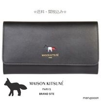 MAISON KITSUNE Plain Leather Long Wallets