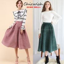 Chicwish Casual Style Velvet Pleated Skirts Plain Medium Midi