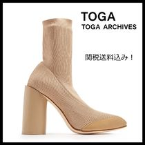 TOGA Plain Leather Block Heels Party Style Ankle & Booties Boots