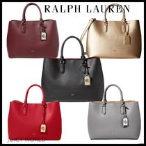 Ralph Lauren Casual Style A4 2WAY Plain Leather Totes