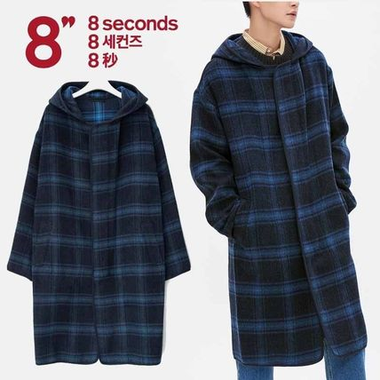 Tartan Other Check Patterns Wool Long Oversized Coats