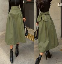 Flared Skirts Casual Style Medium Midi Khaki Midi Skirts