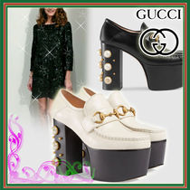 GUCCI Casual Style Studded Leather Chunky Heels