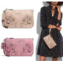 Coach NOLITA Flower Patterns Studded Plain Leather With Jewels