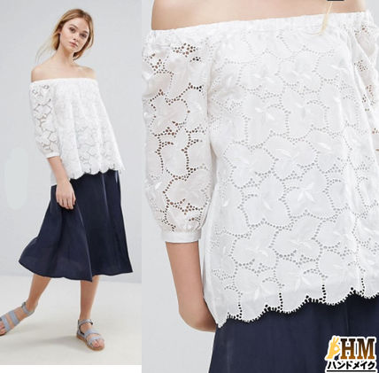 Short Casual Style U-Neck Long Sleeves Plain Cotton Cropped
