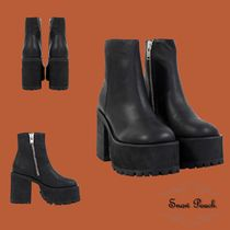 UNIF Clothing Platform Casual Style Plain Leather Chelsea Boots