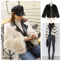 Stripes Faux Fur Blended Fabrics Street Style Medium