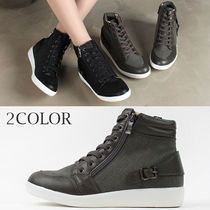 Wedge Round Toe Lace-up Casual Style Faux Fur Street Style