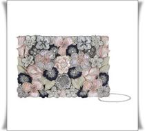Accessorize Flower Patterns 2WAY Chain Party Style With Jewels Clutches