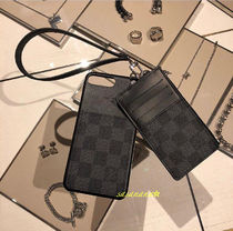 Louis Vuitton DAMIER GRAPHITE Blended Fabrics Leather Special Edition Smart Phone Cases