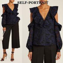 SELF PORTRAIT Camouflage Medium Lace Puff Sleeves Shirts & Blouses