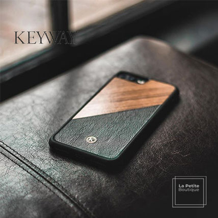 Unisex Bi-color Plain Handmade Made of Wood iPhone 8