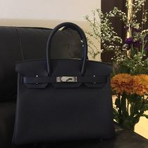 HERMES Birkin Unisex A4 Bi-color Leather Elegant Style Handbags