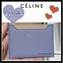 CELINE Classic Unisex Calfskin Bi-color Plain Card Holders