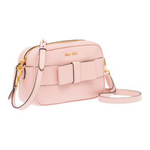 MiuMiu MADRAS Casual Style Plain Leather Crossbody Shoulder Bags