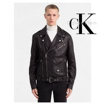Calvin Klein Short Plain Leather Biker Jackets