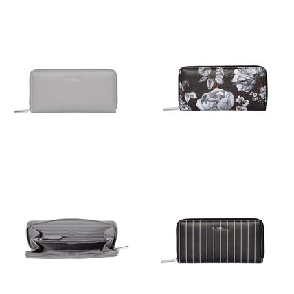 Faux Fur Plain Long Wallets