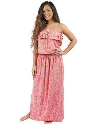 Tropical Patterns Casual Style Maxi Cotton Long Dresses