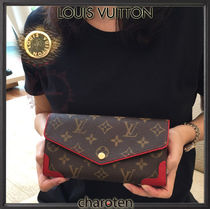Louis Vuitton PORTEFEUILLE SARAH Monoglam Cambus Blended Fabrics Bi-color Long Wallets