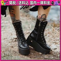 DOLLS KILL Platform Casual Style Faux Fur Ankle & Booties Boots