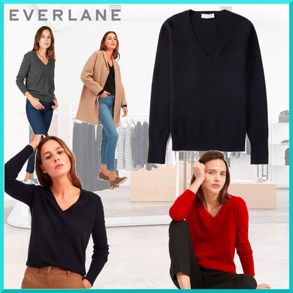 Casual Style Cashmere V-Neck Long Sleeves Plain Cashmere