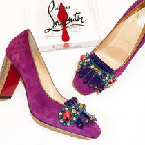 Christian Louboutin Square Toe Suede Tassel Studded Plain Party Style