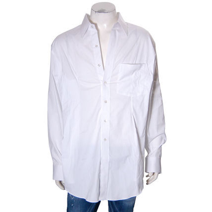 Casual Style Long Sleeves Plain Cotton Shirts & Blouses