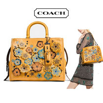 Coach ROGUE Goldenrod (Yellow) Linked Tea Rose Rogue Handbag