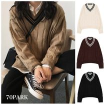 Cable Knit Casual Style Street Style V-Neck Long Sleeves
