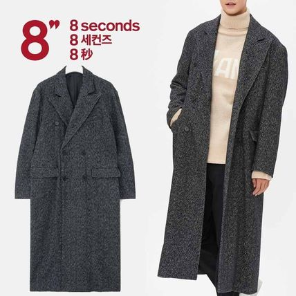Other Check Patterns Unisex Wool Long Coats